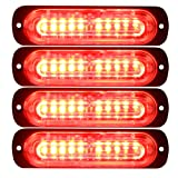 Primelux 4 Pack 4.4-inch Ultra Thin Slim Strobe LED Lighthead - Emergency Hazard Beacon Caution Warning Strobe Lights for Truck Car Vehicle Law Enforcement Snow Plow (Red/Red) (Color: 4 Pack - Red/Red)