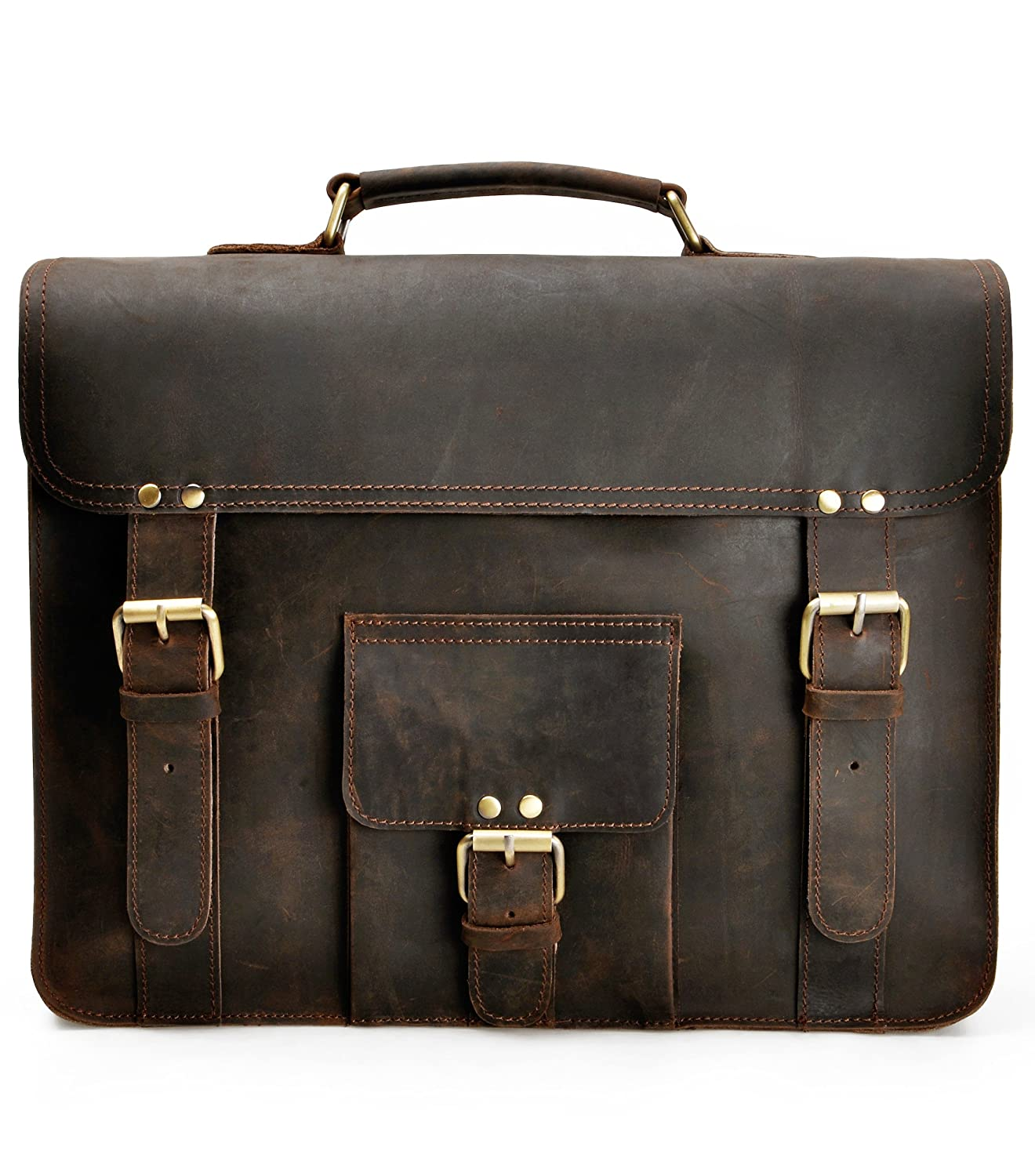 ZLYC Vintage Handmade Leather Business Briefcase