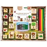 Hapinest Woodland Animal Wooden Stamp and Sticker Set for Kids Boys and Girls 68 Pieces Arts and Crafts Gifts Age 4 5 6 7 8 9 10 Years Old (Color: Woodland Animals)