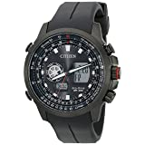 Citizen Eco-Drive Men's Promaster Analog-Digital Watch With Black Silicone Band (Model: JZ1065-13E) (Color: Black Ion Plated Stainless Steel)