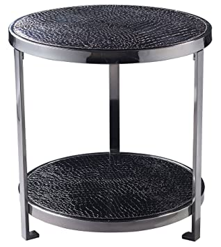 Sterling 120-008 Iron with Leather Coffee Table, Black Faux Croc