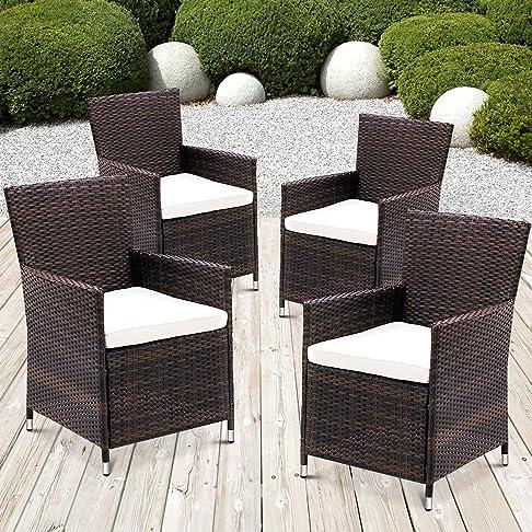 Miadomodo® - Set di 4 sedie in polirattan da giardino, con cuscini, colori vari