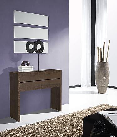 Gomueble-finitura colore: Nero a specchio, ideale per i piccoli spazi 18,4 x 90 x 29,6 cm; espejo 60 x 80 x 3,5 cm Eco y blanco