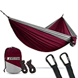 Bear Butt Lightweight Double Camping Parachute Hammock-Large, Portable Two-Person Hammock for Hiking & Backpacking - 16 Colors Available (Maroon/Gray)