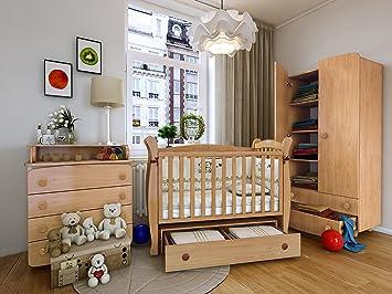 """Babyzimmer """"LONDON"""" Art.-Nr.: 15.01; 23.01; 27.9.01, Kinderzimmer Komplett Set 3-tlg., in Weiß, Kleiderschrank B: 90 cm, Wickelkommode B: 90 cm, Babybett Liegefläche 60 x 120 cm"""