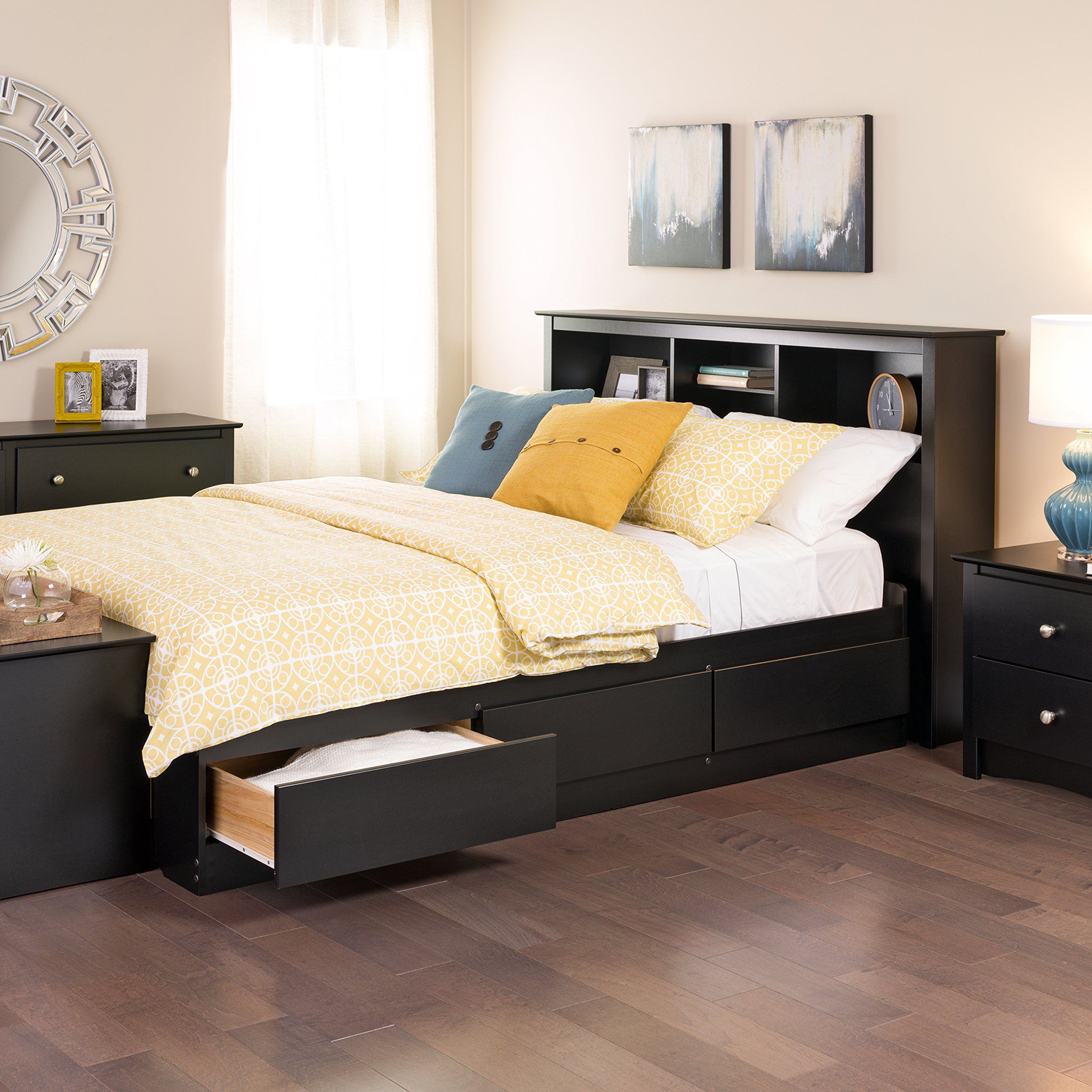 Prepac sonoma black queen platform storage bed with 6 - Modern queen bed with storage ...