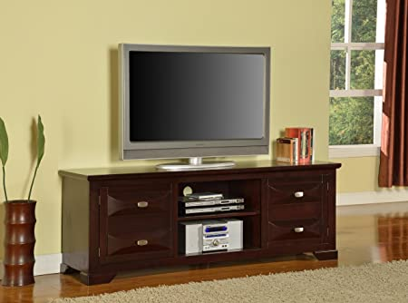 "King's Brand 59"" Cherry Finish Wood TV Console Stand Entertainment Center"