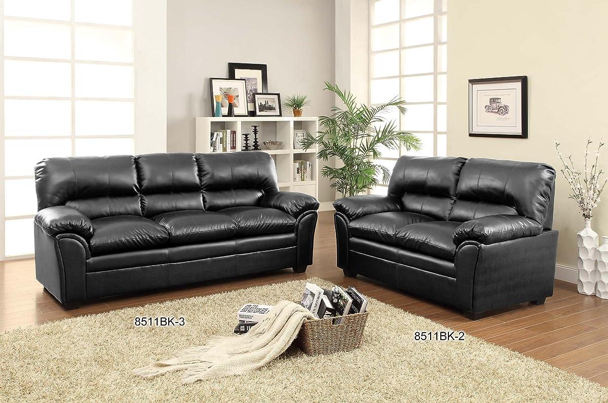 Homelegance 8511BK-2 Talon Contemporary Loveseat Bonded Leather Black
