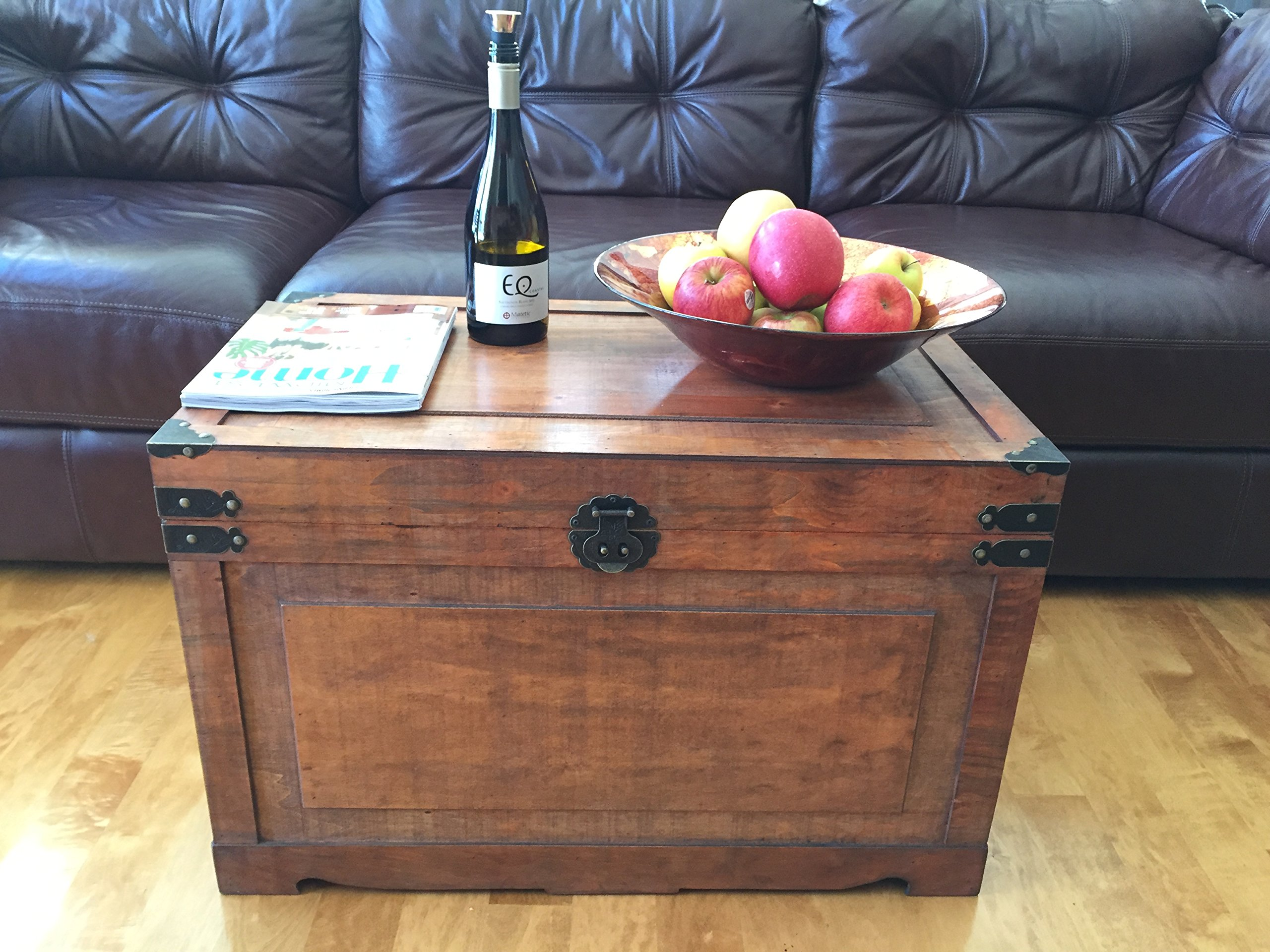 Newport Large Wood Storage Trunk Wooden Treasure Chest