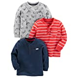 Simple Joys by Carter's Baby Boys' Toddler 3-Pack Long Sleeve Shirt, Gray, Navy, Red Stripe, 5T (Color: Gray, Navy, Red Stripe, Tamaño: 5T)