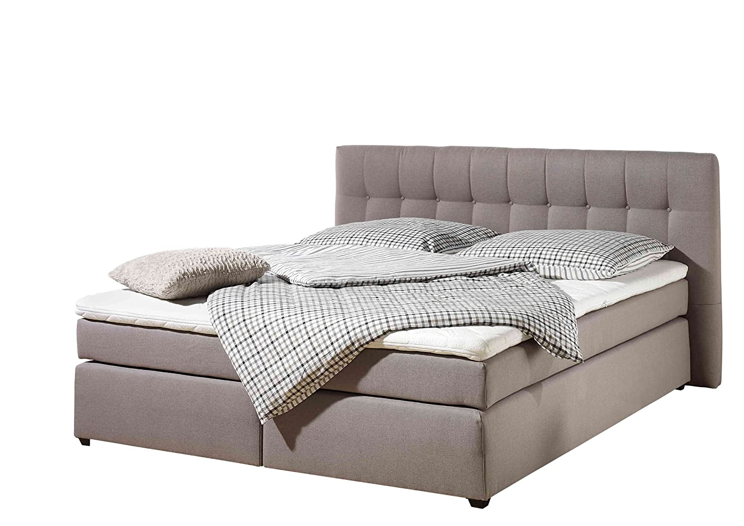 Maintal Betten 236107-3146 Boxspringbett Jeremy 180 x 200 cm inklusive Topper, taupe
