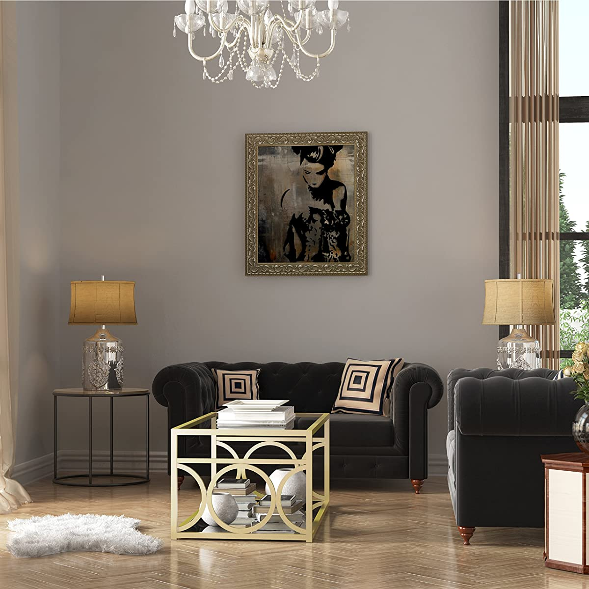 LYKE Home Goldtone Metal/Glass Contemporary Coffee Table with Mirrored Shelf