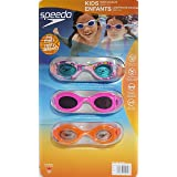 Speedo Kids Swim Goggles Triple Goggle Pack (Multi, Pink, Orange) (Color: Multi, Pink, Orange)
