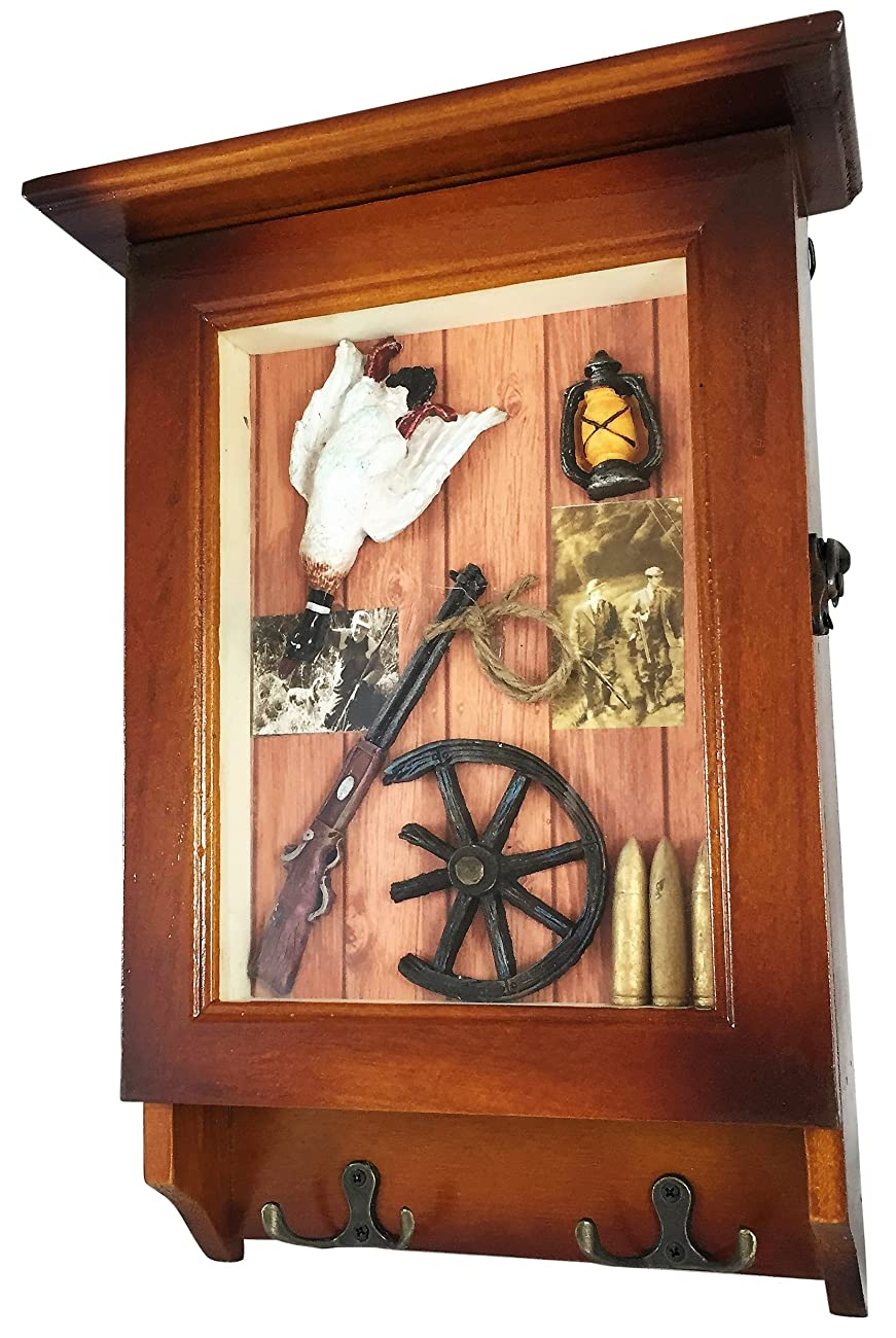 Heartful Home Wood Key Cabinet - Save Time & Hassle w/ This Key Rack for Your Wall - Great Housewarming, Wedding, Anniversary Gifts! (Hunting) 0