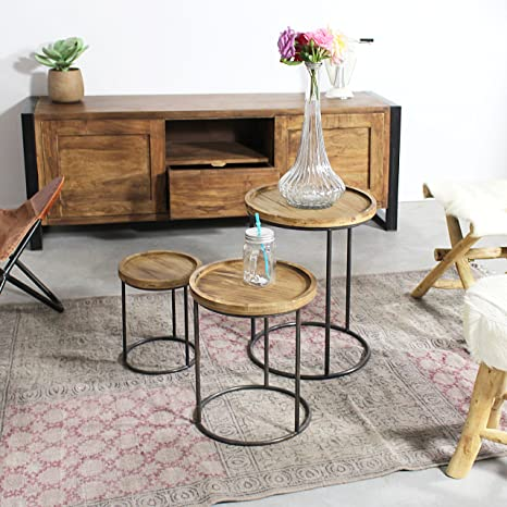 Mueble TV madera de acacia y metal 2puertas correderas | ra9b