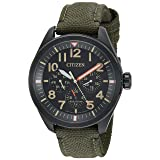 Citizen Men's 'Military' Quartz Stainless Steel and Nylon Casual Watch, Color:Green (Model: BU2055-16E) (Color: Green)
