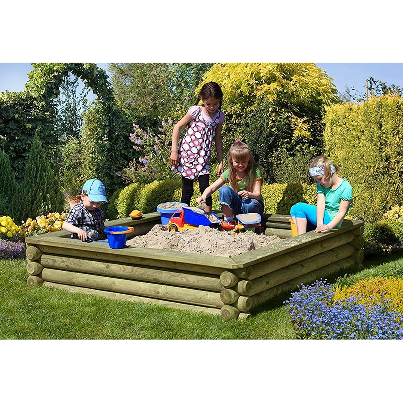Sandkasten 180×180 cm aus Rundholz Ø 10 cm mit Deckel aus Holz von Gartenpirat® günstig online kaufen
