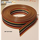 Pc Accessories - Connectors Pro IDC 1.27mm Pitch Rainbow Color Flat Ribbon Cable for 2.54mm Connectors (14P-15FT) (Tamaño: 14P-15FT)
