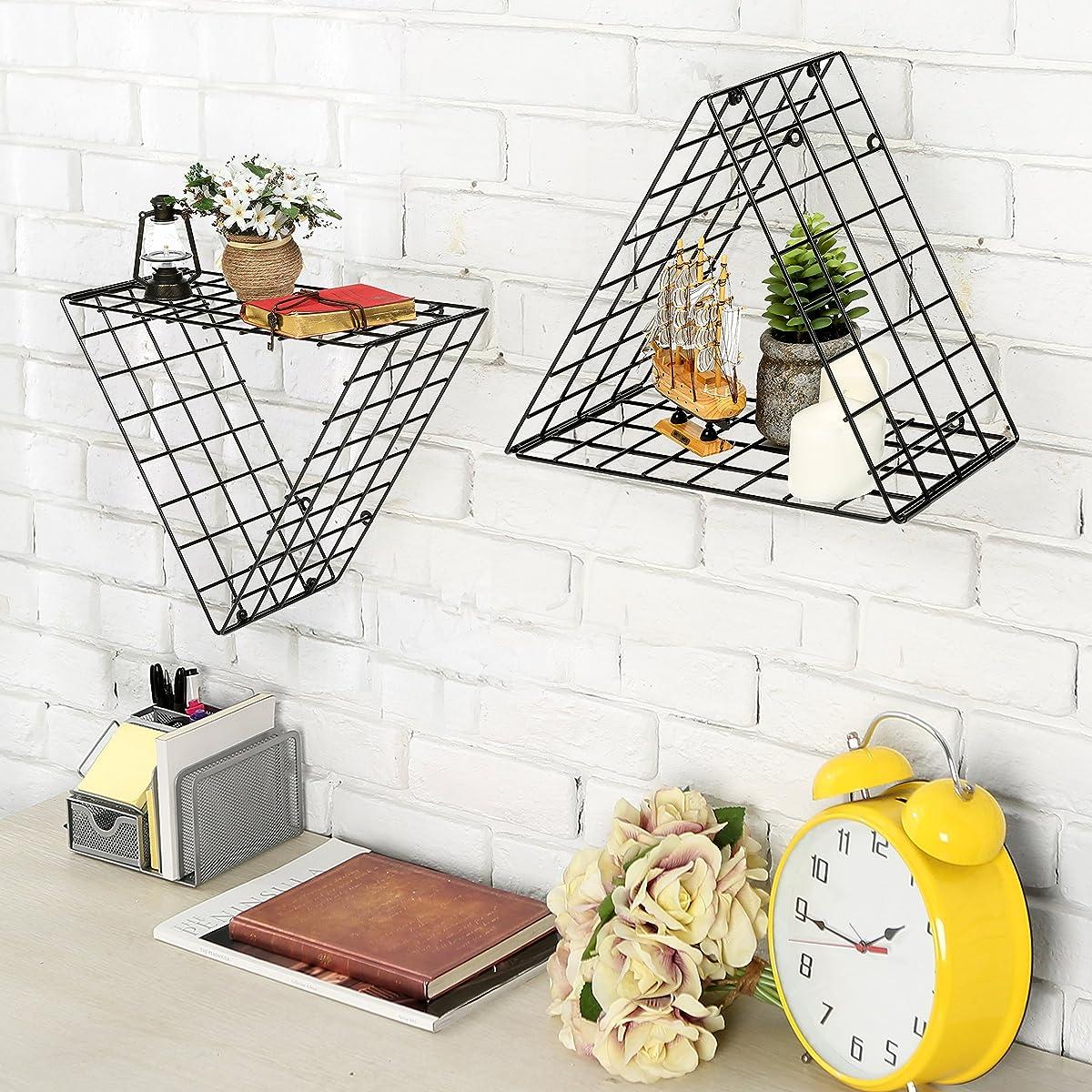 Set Of 2 Triangle Black Metal Grid Floating Shelves Wall Mountable 1 Display Racks