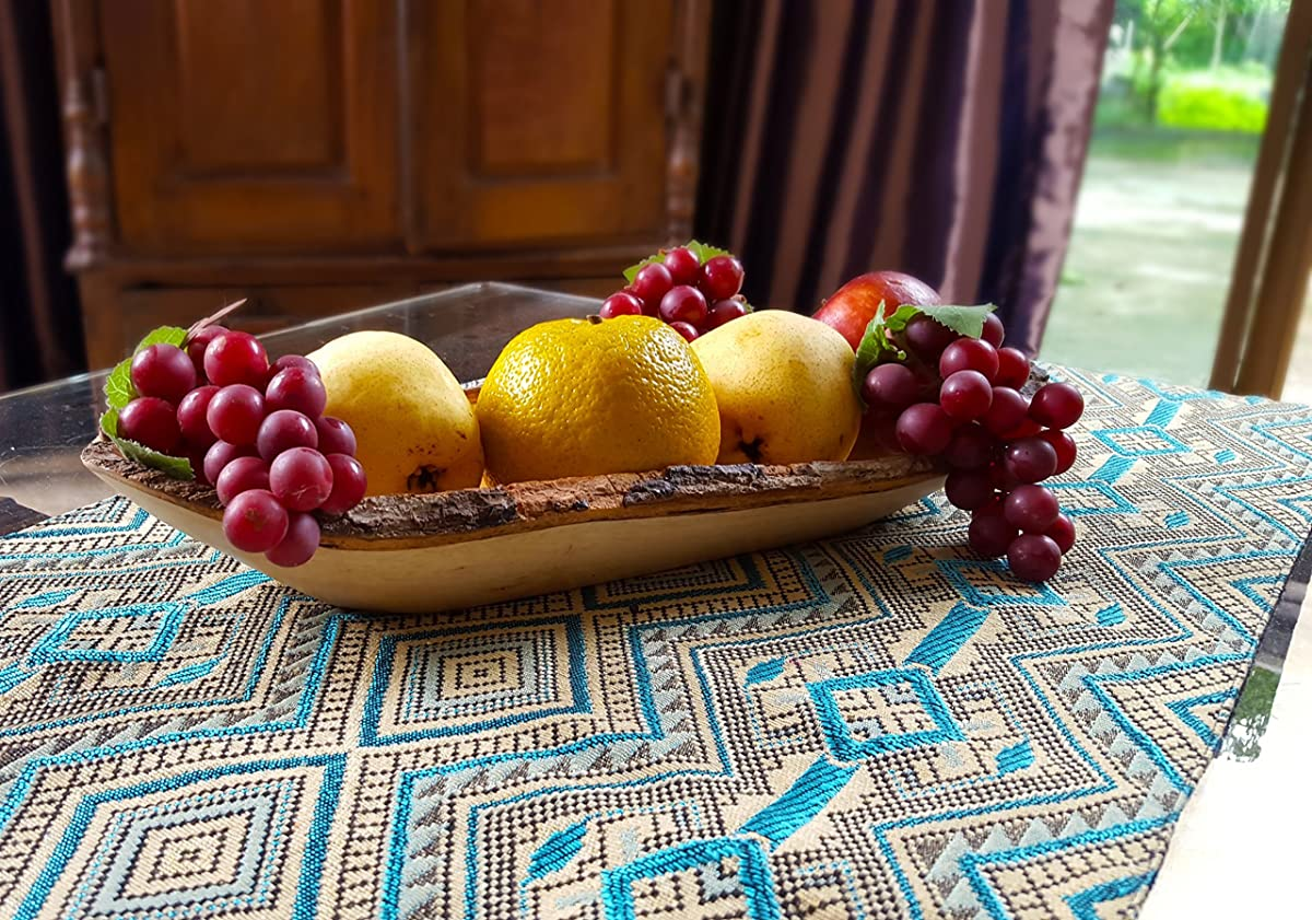 Hand-Crafted Sustainable Long Tray with Bark Edges