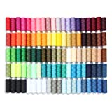 Sewing Thread Set of 100 All Purpose Polyester Threads, 250 Yards Per Spool in Assortment Colors Plus 4 Spools of Black and White Each, Good for Hand Stitching, Machine, Quilting & Crafts. (Color: Multicoloured)
