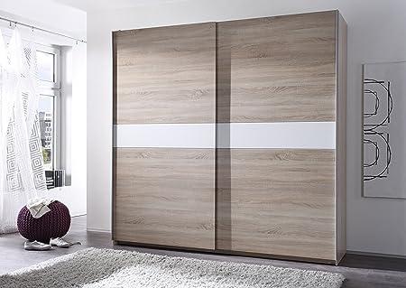 """Schwebeturenschrank """"VICTORIA 5"""" Kleiderschrank Schrank / Sonoma Eiche mit Bauchbinde Weiß / 270 x 210 cm"""