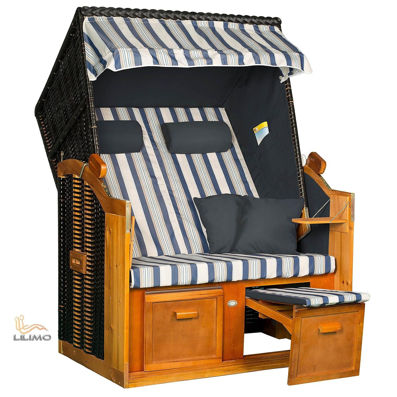 Strandkorb BALTIC-R BLD, anthrazit, blau-weißer Blockstreifenbezug, LILIMO ® günstig kaufen