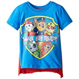 Nickelodeon Little Boys' Toddler Paw Patrol Small But Tough Toddler Cape T-Shirt, Blue, 3T (Color: Blue, Tamaño: 3T)