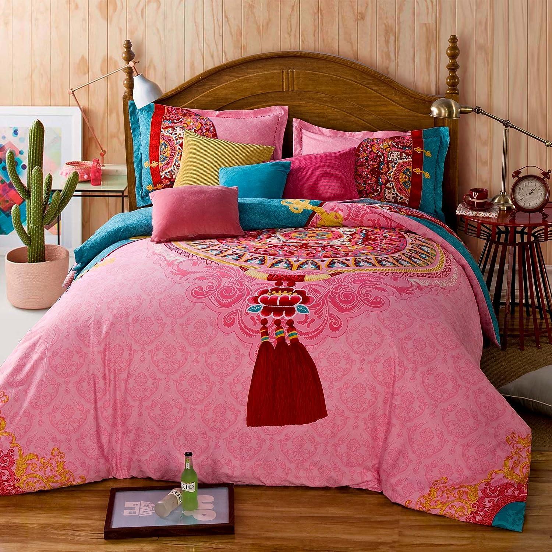 FADFAY 4-Piece Bohemian Bedding Boho Bedding Set Full Queen Size