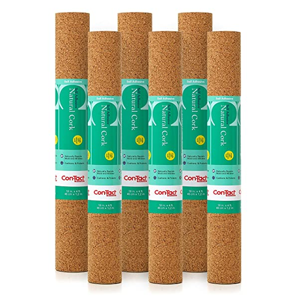 Con-Tact Brand Self-Adhesive Cork Contact Shelf and Drawer Liner, 18 x4', Natural, 6 Rolls (Color: Brown, Tamaño: 18x4')