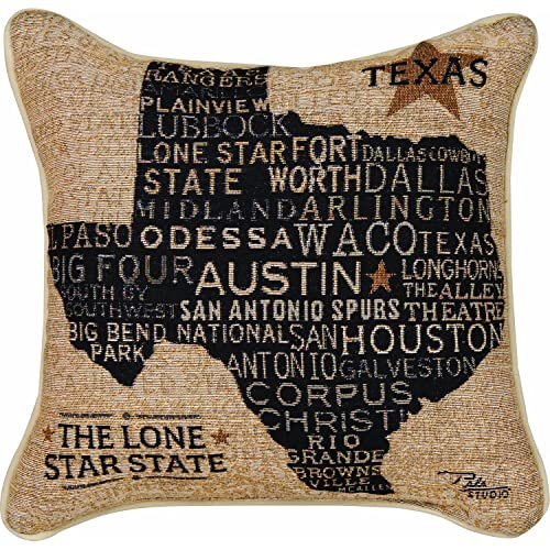 Manual Americana Collection Throw Pillow with Piping 17 X 17-Inch USA Texas from Pela Studios