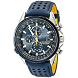Citizen Men's Eco-Drive Blue Angels World Chronograph Atomic Timekeeping Watch with Day/Date, AT8020-03L (Color: Stainless Steel/Blue)