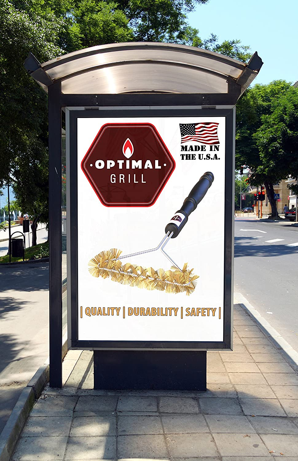 Optimal Grill Barbecue Grill Brush Made in USA sold on Amazon