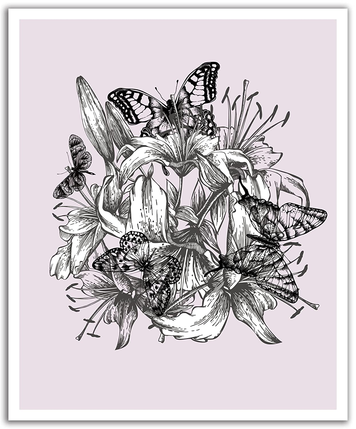 JP London POS2428 uStrip Peel and Stick Removable Wall Decal Sticker Mural Butterfly Dream Sketch Flower, 19.75-Inch by 24-Inch sketch machine wall sticker