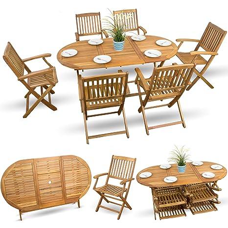 7-tlg Gartenmöbel Essgarnitur Gartenmöbel Set Holzmöbel Sitzgruppe Holz Akazie geölt - 6x Klappstuhl 1x Klapptisch
