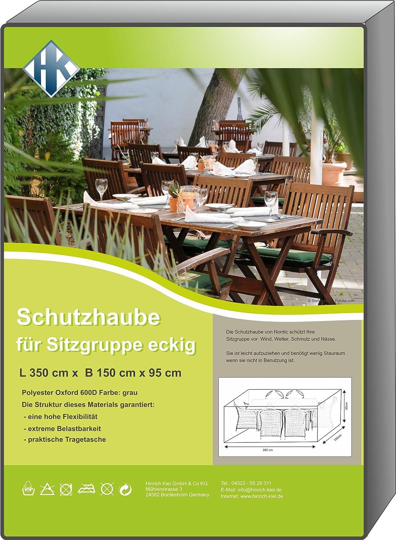 Schutzhaube deluxe grau Oxford 600D Gartenmöbel verschieden Größen (350x150cm eckig – 95 hoch) bestellen