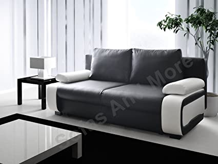 Sofa Bed 3 Seater Black White with Storage