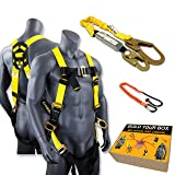 KwikSafety (Charlotte, NC) THUNDER COMBO | 3D Ring Full Body Safety Harness, 6' Lanyard, Tool Lanyard, ANSI OSHA PPE Fall Protection Arrest Restraint Equipment Universal Construction Roofing Bucket (Color: Harness + Lanyard + Tool Lanyard, Tamaño: COMBO (save $5))