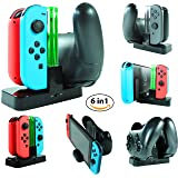 Alphatronic Games Joy-Con Controller and Pro Controller Charging Dock Station | 6 in 1 Controller Charger for Nintendo Switch with Charging Indicators