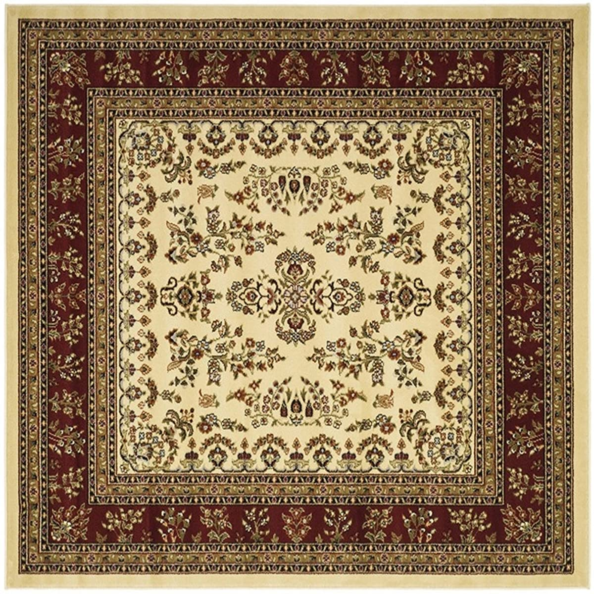 Safavieh Lyndhurst Collection LNH331A Traditional Oriental Ivory and Red Square Area Rug (8 Square)