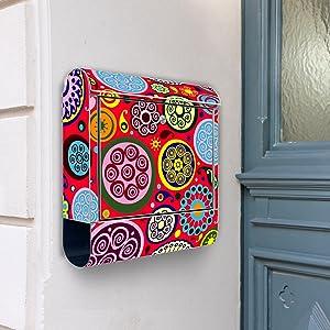 Design Briefkasten Edelstahl Briefkästen 38x42x11 von banjado mit Motiv Retro Kreise   Kritiken und weitere Infos