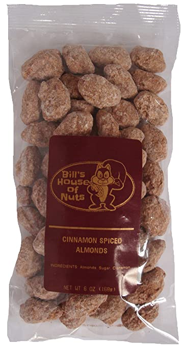 Cinnamon Spiced Almonds, Deliciously Candied Sweet, Spicy, Low Salt, Fresh and Unique. A Favorite For Custom Gift Baskets. 6 oz