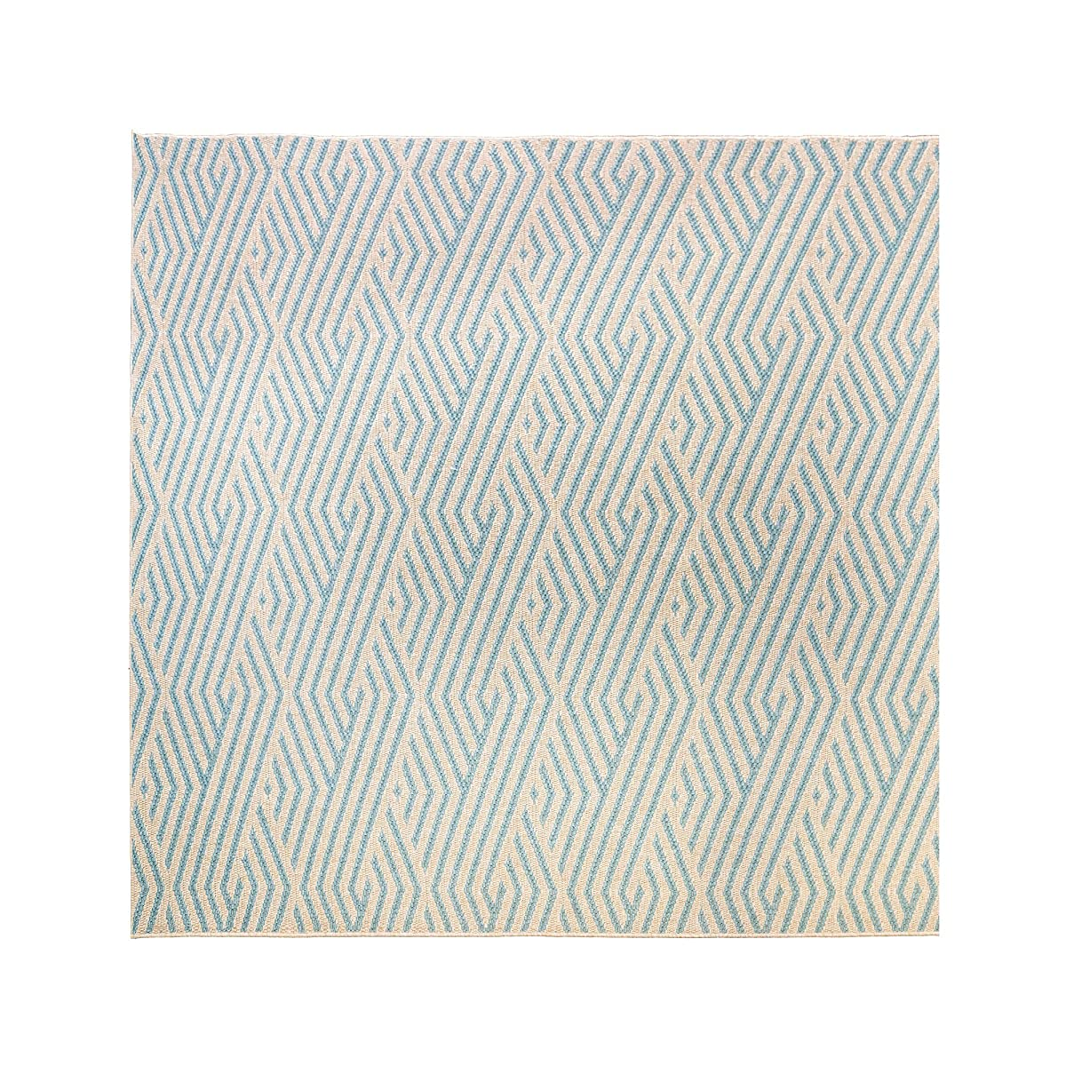 Gertmenian Platinum Seneca Modern Outdoor Furniture Rug, 9x9 Square, Gold Aqua Blue