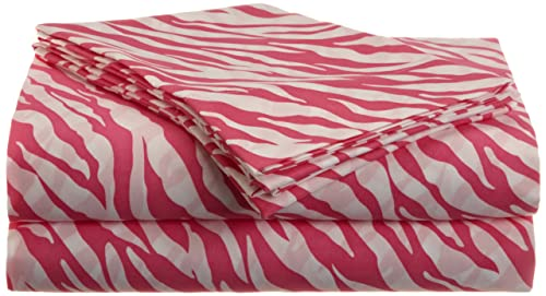Divatex Home Fashions Jungle Love Zebra Stripe Sheet Set, White/Pink, Full