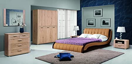NICKIE large 160 cm wide bed bed frame in brown colour with bed slats double sided pocket sprung mattress faux leather bedroom furniture beds