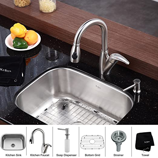 "Kraus KBU12-KPF2121-SD20 23"" Undermount Single Bowl Stainless Steel Kitchen Sink with Kitchen Faucet and Soap Dispenser"