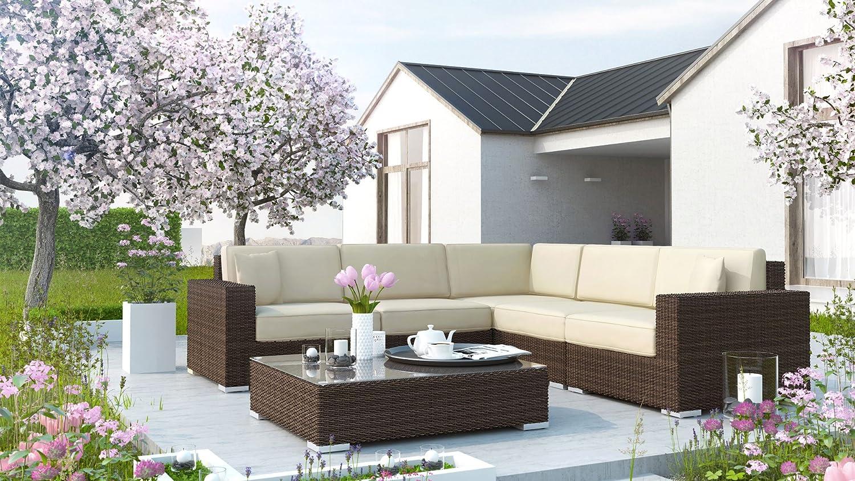 Milano Polyrattan Gartengarnitur in Modern braun online kaufen