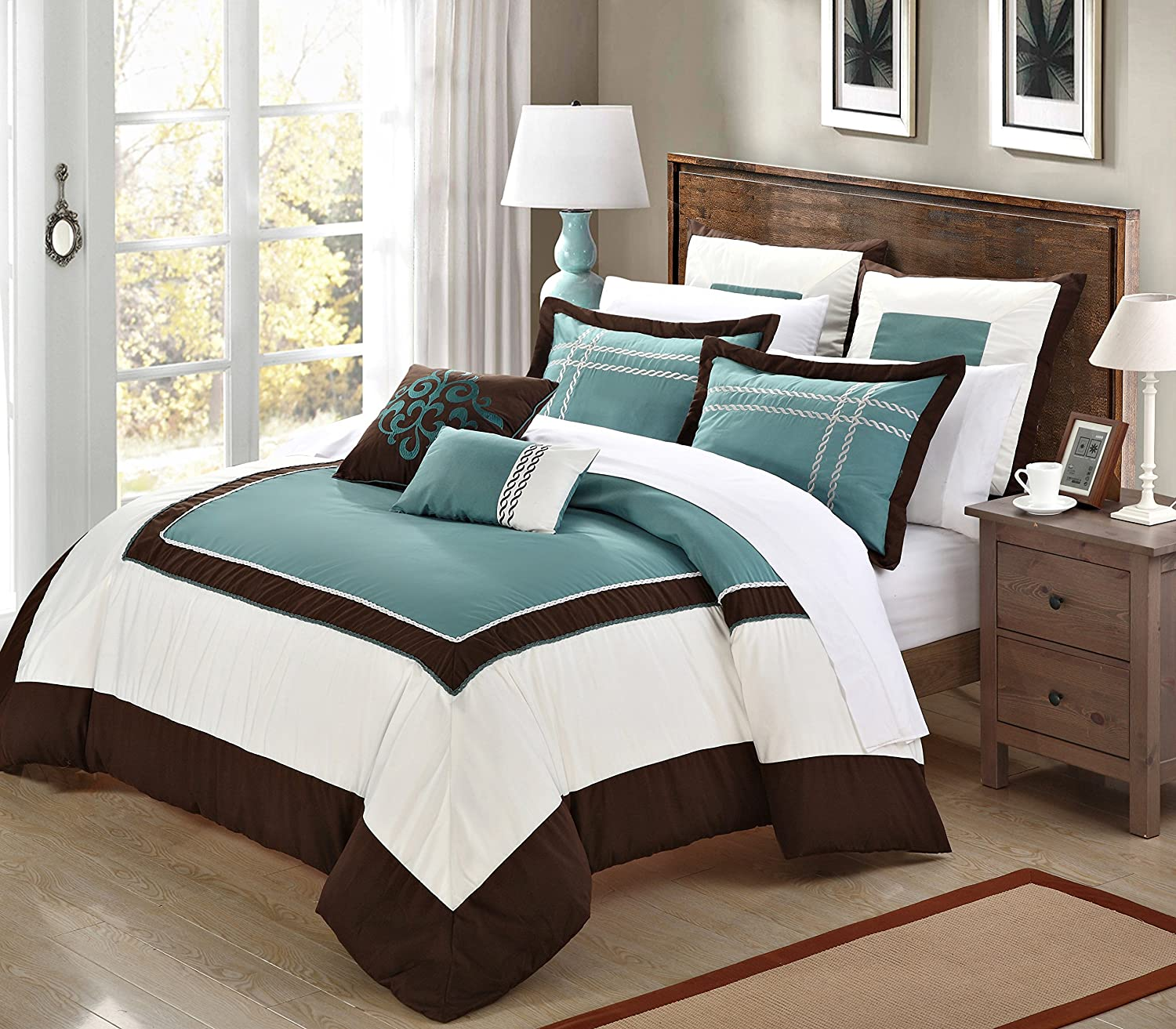 Turquoise Brown and White Bedding