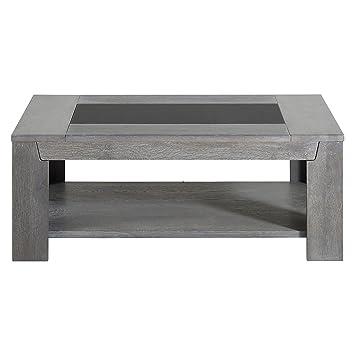 Keo 0607TABA TITAN Table basse double plateau Chêne massif/Placage chêne  110 x 80 x 42 cm
