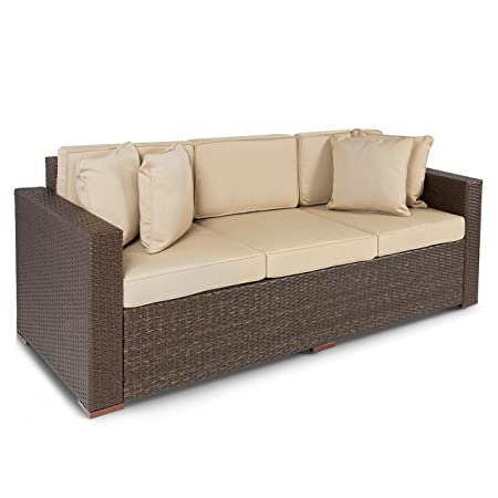 This Three Seat Wicker Sofa Offers A Sleek And Stylish Way To Add  Additional Seating To Your Outdoor Living Space And It Boasts A Durable  Steel Frame And ...